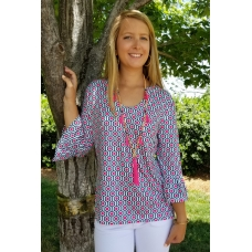 Erma's Closet Navy and Hot Pink Print Uneck Tunic